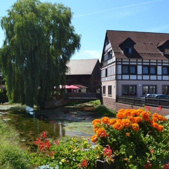 Blick Brücke Biergarten